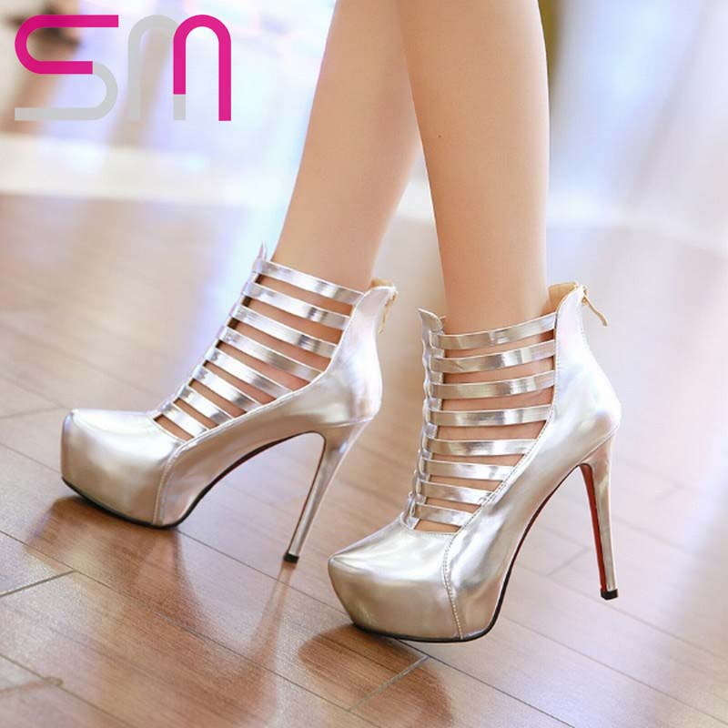 Women Boots Sexy Cutouts Summer Boots Ankle Boots Thin High Heels Platform Red Bottom Shoes Woman Summer Shoes Women's Shoes