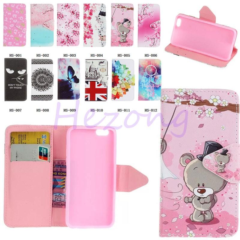 Cute Cat Bear Dreamcatcher painting PU Leather Wallet Flip Credit Card Slot Case For iPhone 7 Plus 6S plus 5 5S SE Touch 5 6A51