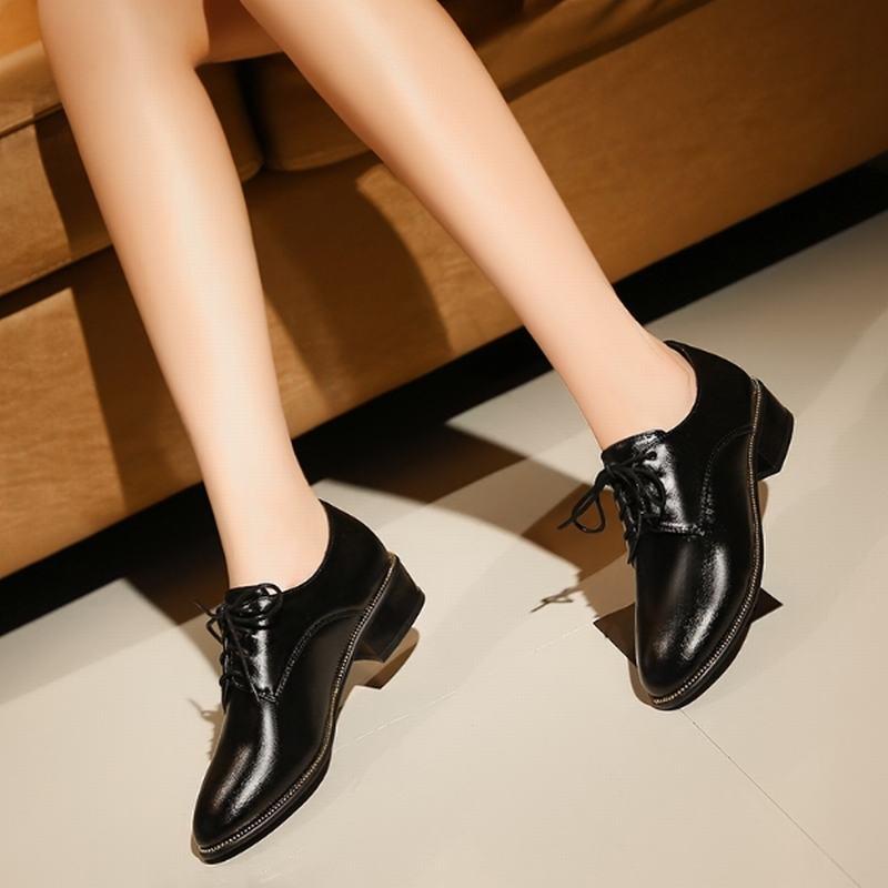 Big Size 33-43 2016 Lace-Up Women Pumps Thick Low Heels Round Toe Platform Shoes Women Spring Autumn Casual Shoes Woman Fashion