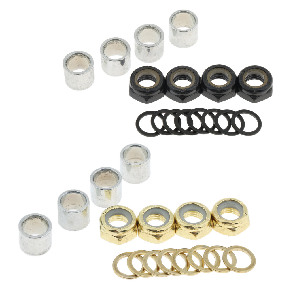 Skateboard Longboard Truck Speed Kit Axle Speed Washers Nuts Spacers Skateboard Bearing Spacer for Kateboard / Longboard Trucks