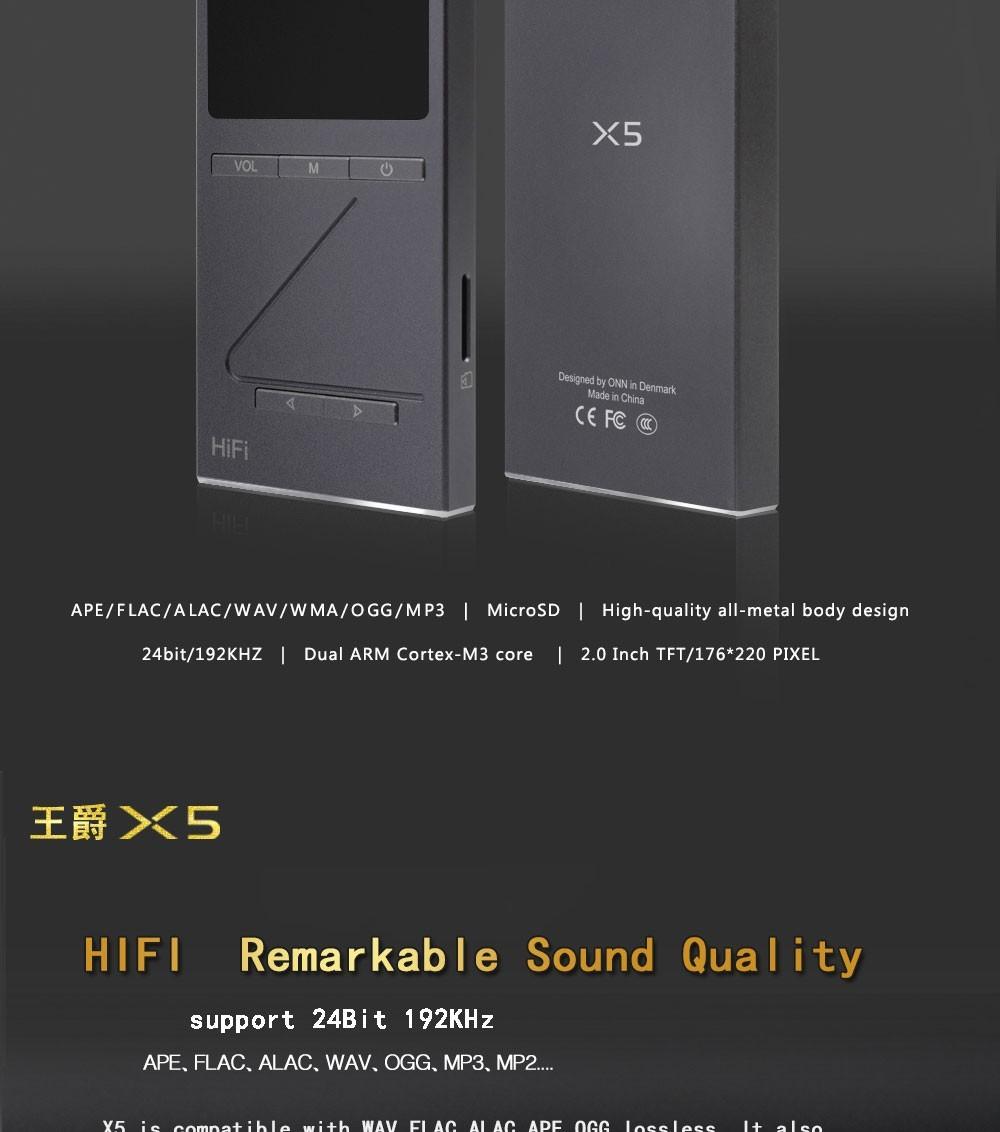 """ถูก ต้นฉบับONN X5เล่นเครื่องเสียงไฮไฟMP3 DACเล่นกับ2 """"หน้าจอ8กิกะไบต์Lettoreด้วยการสนับสนุนเอฟเอ็มAPE/FLAC/ALAC/WAV/WMA/OGG/MP3"""