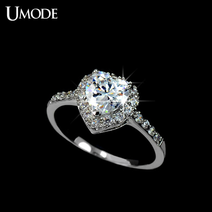 UMODE White Gold plated Heart Shaped Cubic Zirconia with micro CZs Cluster Setting Engagement Ring UR0008B(China (Mainland))