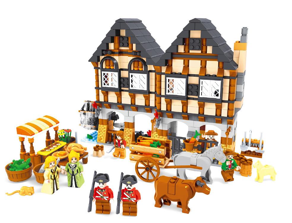 Building Block Sets Compatible lego new city vegetable market 3D Construction Bricks Educational Hobbies Toys Kids