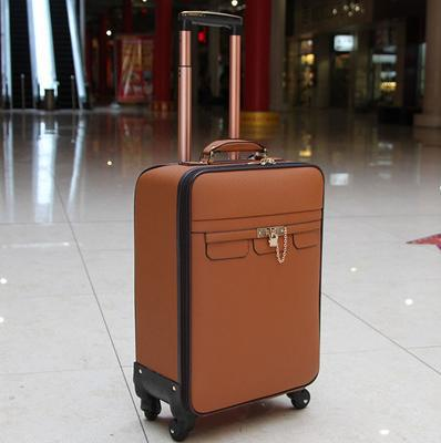 Specials 20'' Genuine Cow Leather Trolley Men Travel Bag Fashion Rolling Luggage Bossanjerasu Brown 7717(China (Mainland))