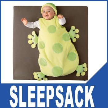 2 sets/lot 100% Cotton Baby Sleeping Sack,Lovely Frog Shape Design(L Size) +Free Shipping! 100399