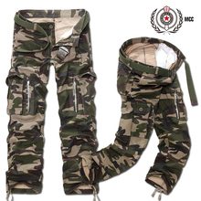 Multi-pocket casual military 100% cotton plus size tooling Camouflage trousers khaki 012 p70