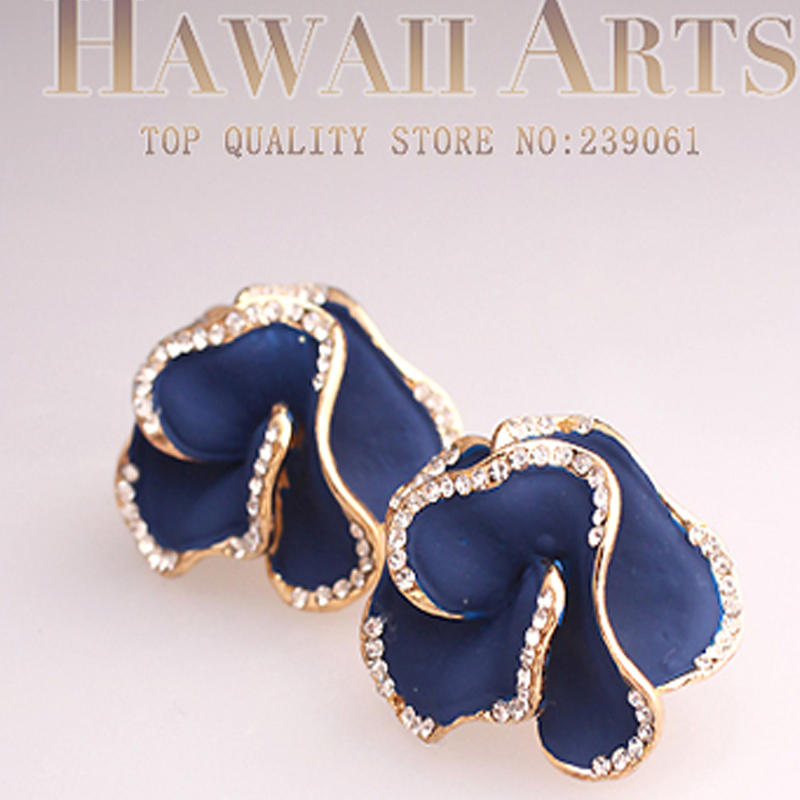 18k Gold Plated Spring Color Blue Flower Enameled Party Wedding Attractive Clip Earrings Women Fashion Jewelry Accessories - Hawaii Arts store