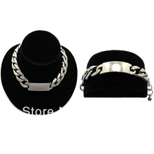 HOT CHUNKY CHAIN ID PIECE NECKLACE Silver Plating Free Shipping(China (Mainland))