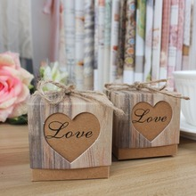 10pcs/lot Wedding Candy Box Romantic Heart Kraft Gift Box with Burlap Twine Chic Wedding Favors and Gifts Bag Party Supplies(China (Mainland))