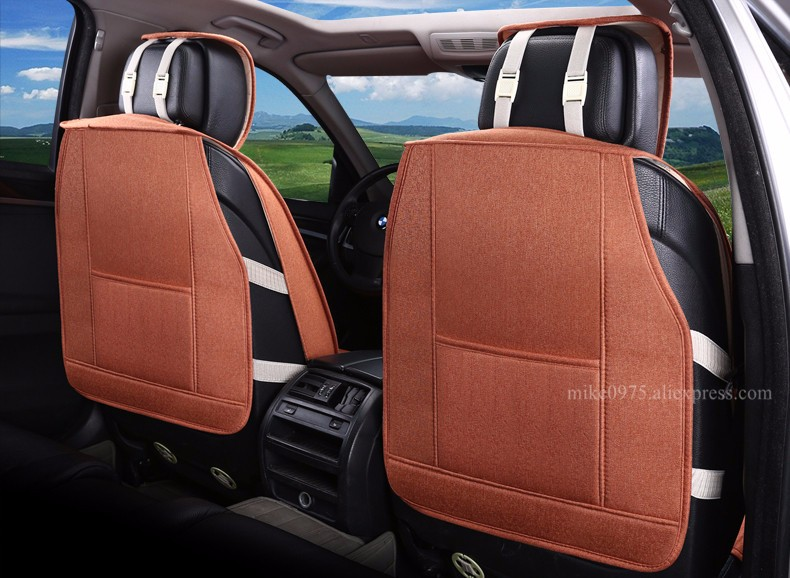 Linen Flax Breathable Seat Covers for Hyundai Elantra Sonata Mistra Verna 5dr Moinca 5 Seat Cushion Full Seat Protector Rugs 2o