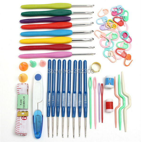 Set 16 Sizes Crochet Hooks Knitting Needles Set Yarn Hook Stitch Tools ...