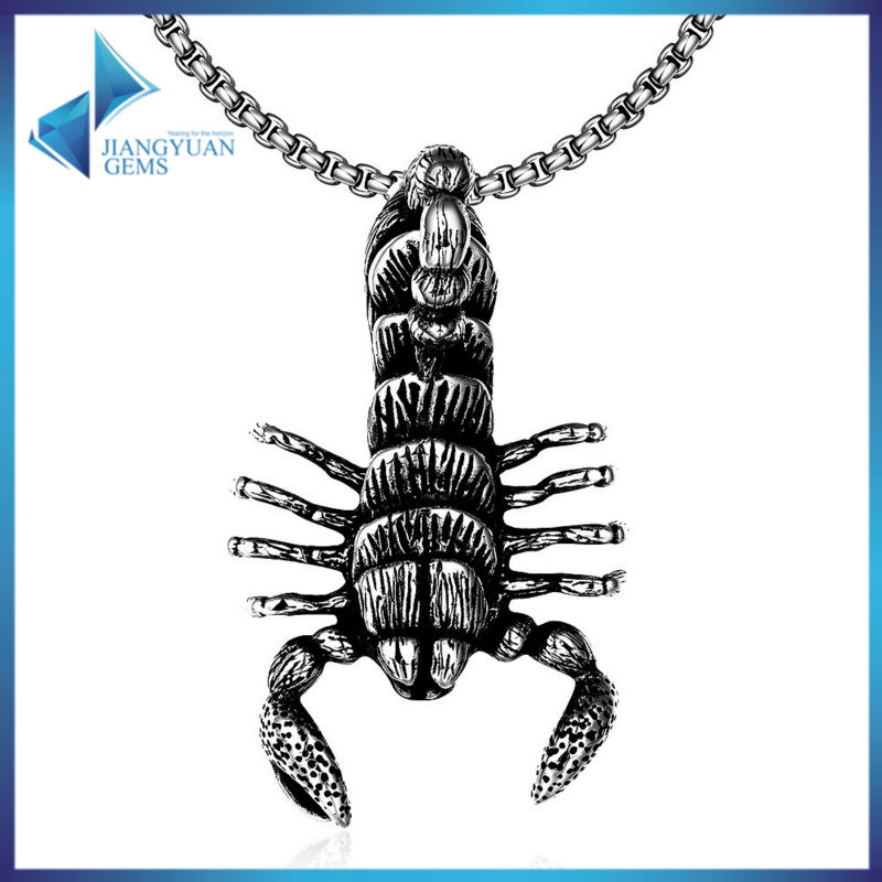 Scorpion Pendant Necklace 316L Stainless Steel Bicycle Gothic Knight Punk Black Poison Scorpion Boy's Necklace Free Shipping(China (Mainland))