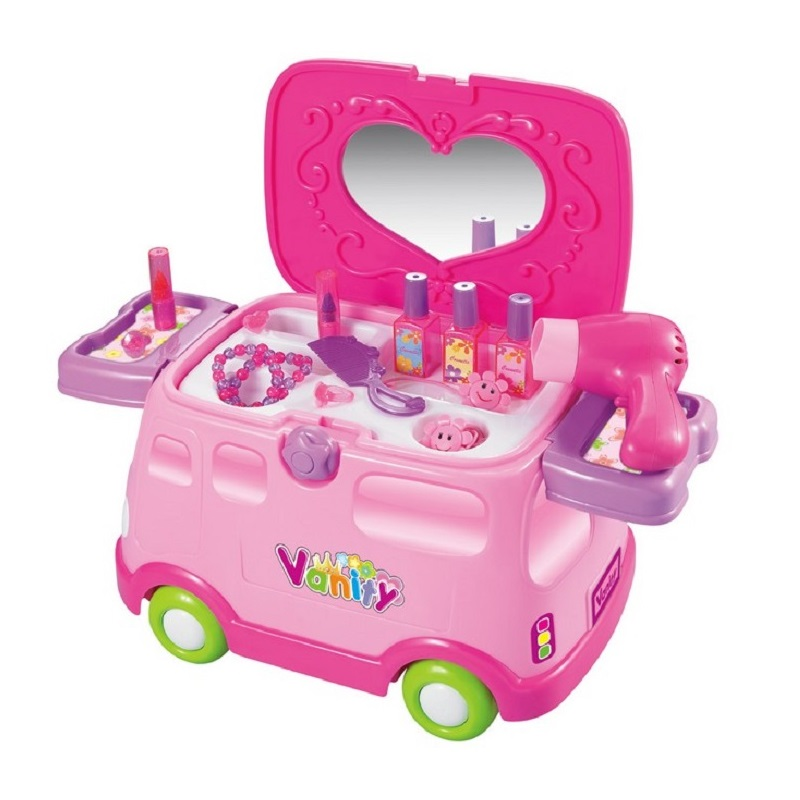Funny 2in1 Electronic Multifunctional Classic Pretend Play Dressing Table Car Playset Dresser for Girls Baby Toys With no Box(China (Mainland))