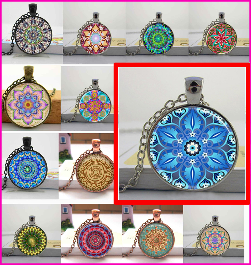 Handmade Kaleidoscope Buddhism Mandala Necklace Art Glass Dome Vintage Neon Blue Pink purple green Mandala boho pendant(China (Mainland))