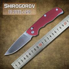 Shirogorov tabargan 95 cuchillo plegable lámina D2 manija G10 roja con eje sistema al aire libre bolsillo caza que acampa cuchillos herramientas EDC