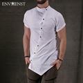 2017 Spring New Fashion Show High Street Stylish Men s T shirt Oversize Asymmetry Button Short