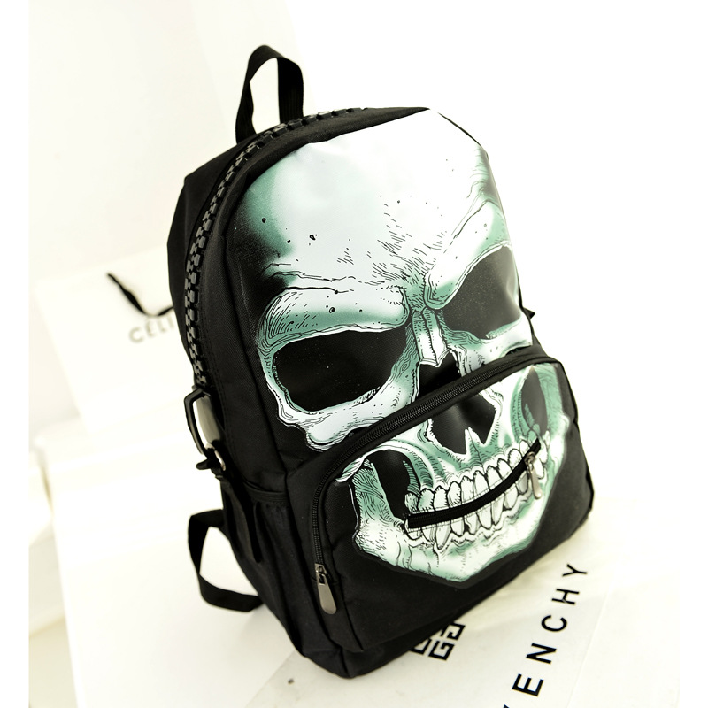 2015 wholesale manufacturers new backpack Korean skull head double back schoolbag students pack cool personality(China (Mainland))