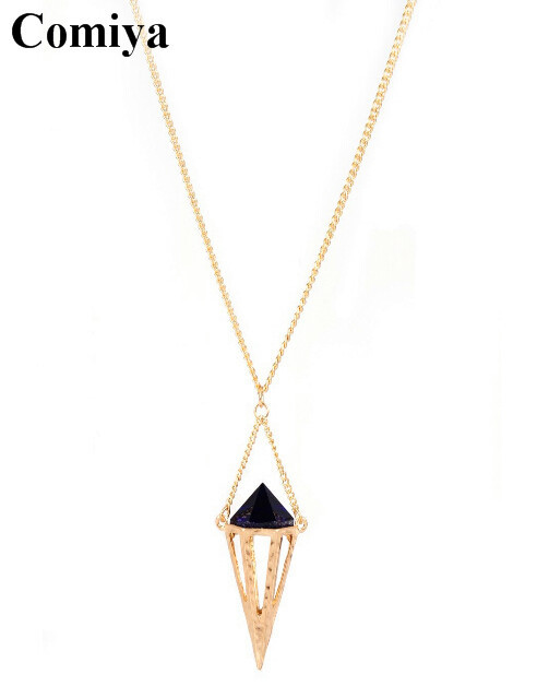 New Brand simple punk style long gold chain spike pendant necklace bijoux fashion necklaces for women accessories collier femme(China (Mainland))