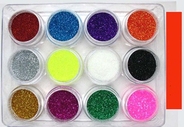 12 Colors Nail Art Tip Glitter Dust Acrylic Powder UV gel Nail Glitter Decoration Acrylic Nail Glitter Decoration Free Shipping(China (Mainland))