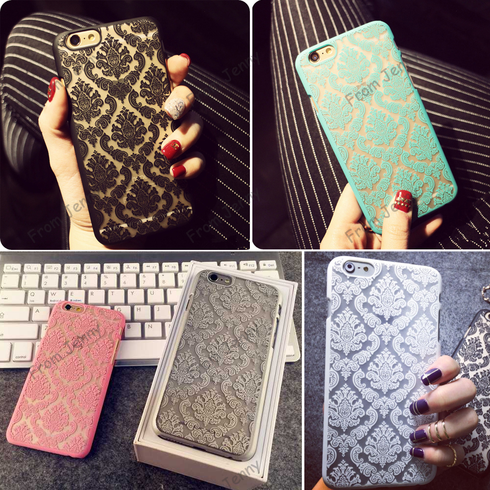 Brand New Glam 2015 Flower Damask Hard Plastic Back Mobile Phone Skin Case Cover For Iphone 5 5S 6 6 Plus(China (Mainland))