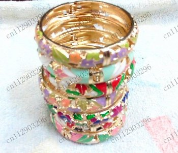 Free Shipping! Wholesale 100pcs/lot traditional Chinese crafts Cloisonne enamel bracelets bangles free open delicate flowers