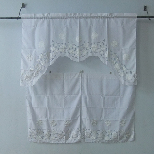 "Euphoria 100%Polyester Handmade Handcraft Vintage Battenburg Kitchen Curtain White Swag 60"" X 36""(China (Mainland))"