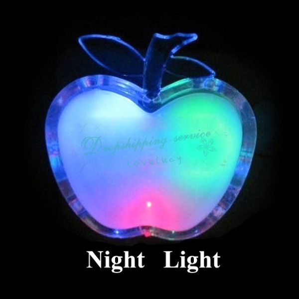 Apple Shaped Colorful LED Night Light Energy-saving Wall Lamps Home Decoration Drop shipping/Free Shipping Wholesale(China (Mainland))