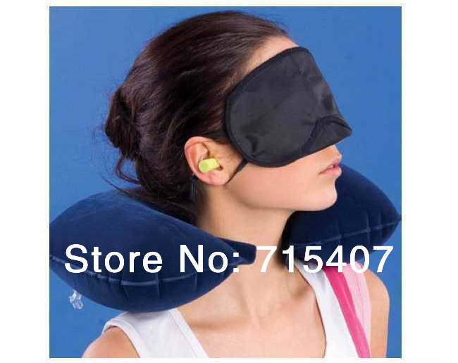 Free Shipping, 3 In1 Travel Rest Set, Inflable neck Air Cushion Pillow + Eye Mask + 2 Ear Plug Comfortable Business Trip(China (Mainland))