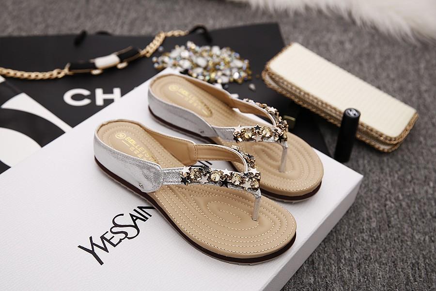 Stars Decorationn Flip Flops Slippers Women Flat Shoes Fashion Sequined Beach Women Flip Flop Summer Slides Sandals NX71