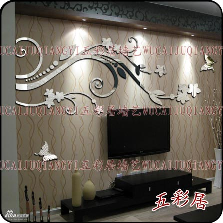 2014 Europe Style 2mm thick mirror Crystal three-dimensional wall stickers tv background Acrylic Stickers  -  Yiwu Home Decor Co., Ltd store