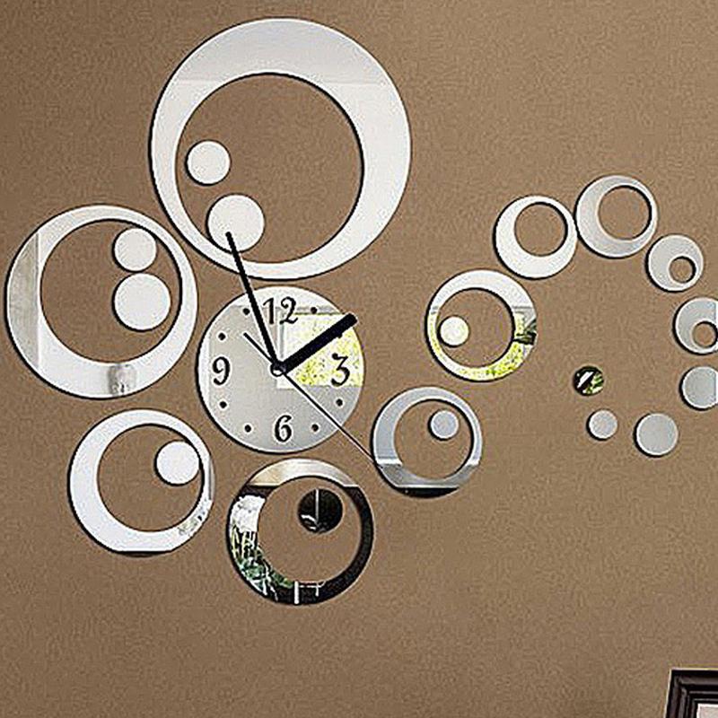 2015 new wall clock reloj de pared diy clocks quartz watch living room acrylic europe large decorative horloge mirror stickers(China (Mainland))