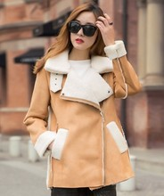 Top Quality Winter Coat Women Big Turn Down Collar Suede Leather Jacket Fleece Thick Parka khaki ,black S-L Free shiping C4N606(China (Mainland))