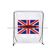 four pcs/lot flag of the united kingdom printed custom drawstring backpack London bags shoes waterproof storage backpack(China (Mainland))
