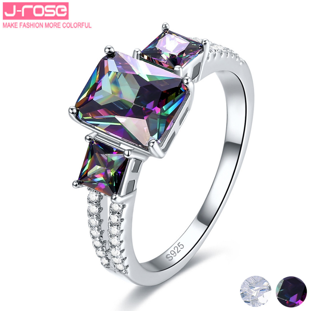 Jrose 2 Color Engagement Ring 100% 925 Sterling Silver Rainbow & White CZ Finger Ring Women Fashion Jewelry Brand New Gift(China (Mainland))