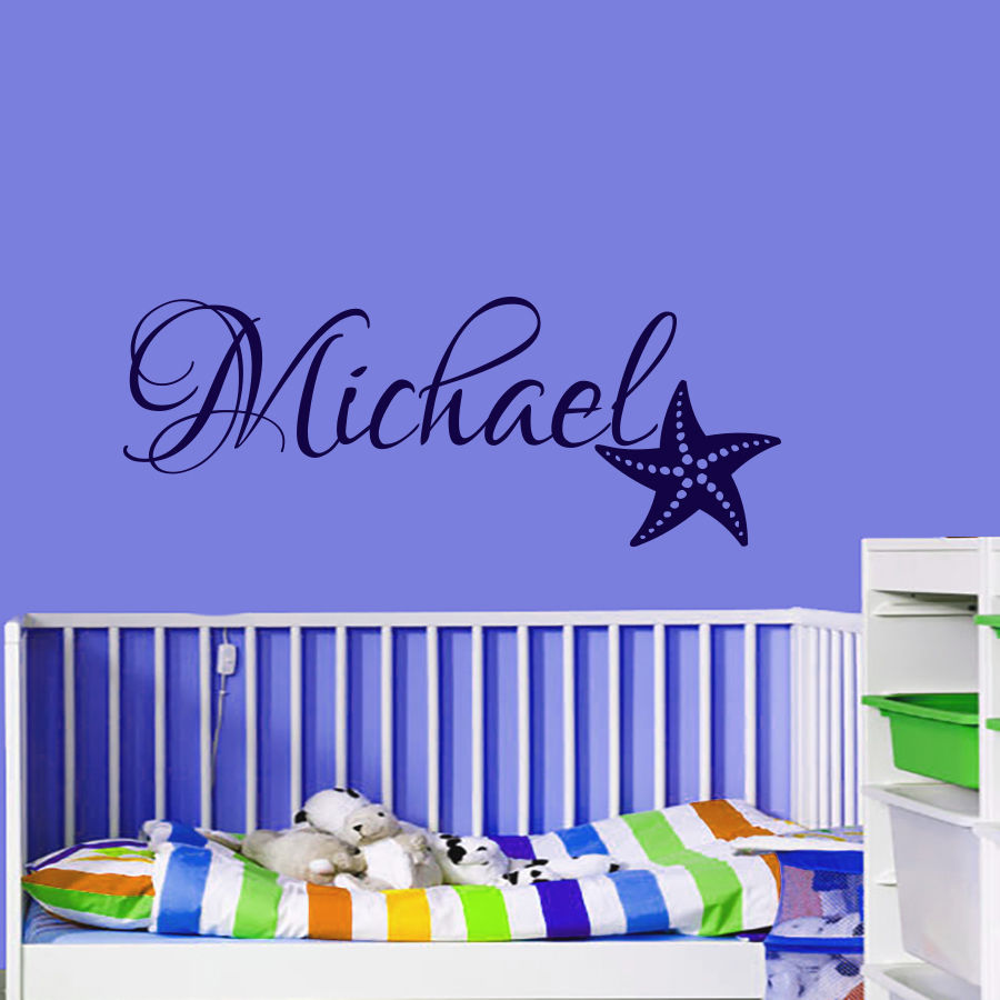 W155 Wall Decals Personalized Name Decal Starfish Vinyl Sticker Boy Bedroom Art home decor(China (Mainland))