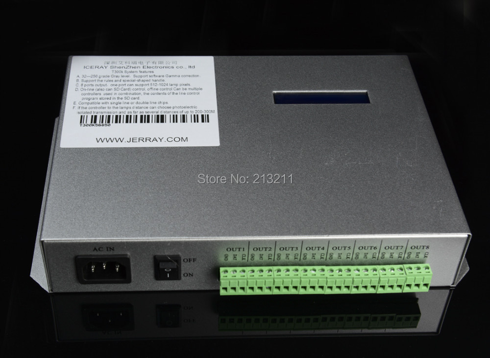 AAA T-300K T300K SD Card online VIA PC RGB Full color led pixel module controller 8 ports 8192 pixels ws2811 ws2801(China (Mainland))