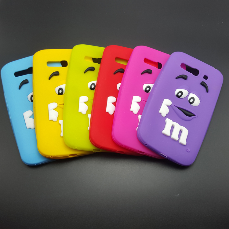 3D Cartoon M&M's Chocolate Rainbow Beans Silicon Case Cover For Alcatel One Touch Pop C9 rubber shell cell phone cases(China (Mainland))