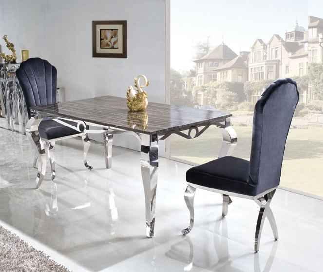 High quality marble top Dining Table with stainless steel frame modern dining room set home furniture TH329(China (Mainland))