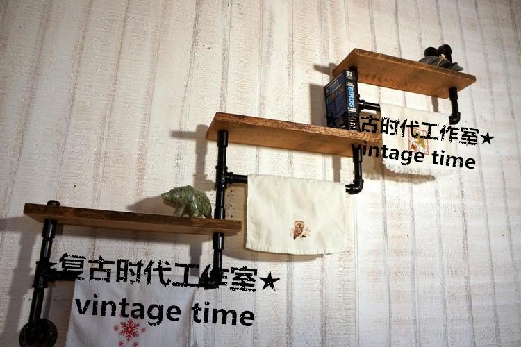 LOFT industrial retro style wood bookcase shelf creative industrial air duct<br><br>Aliexpress