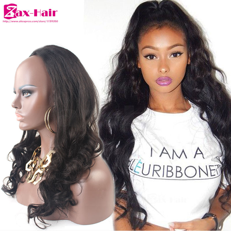 Body wave 7A human hair half wigs Brazilian virgin human hair 3/4 half wig stocked cheap clips for wigs customized 130% density(China (Mainland))
