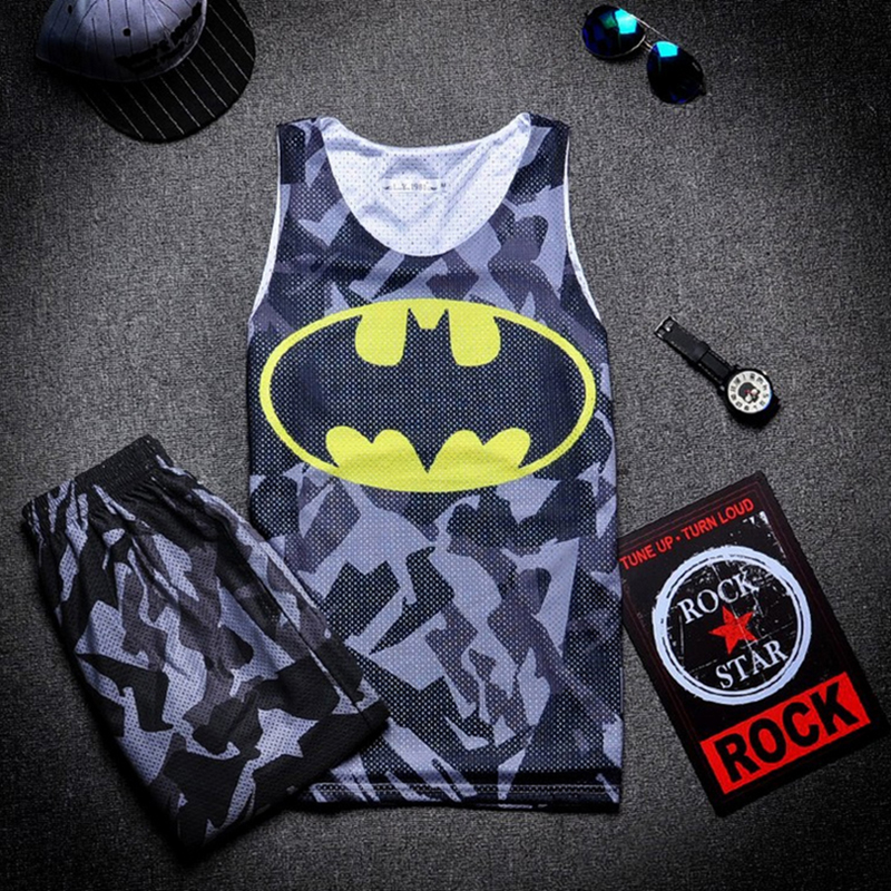 Superhero Gym Singlets Double Layers Men Mesh Breathable Tank Top and Shorts Fitness Man Sports Vest Basketball Football Outfits(China (Mainland))