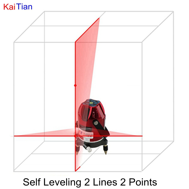 2 Lines Rotary Laser Level with Dual Slope/Receiver 635 Cross Level Laser and Euro Plug Lazer Level 2 Points Self Leveling