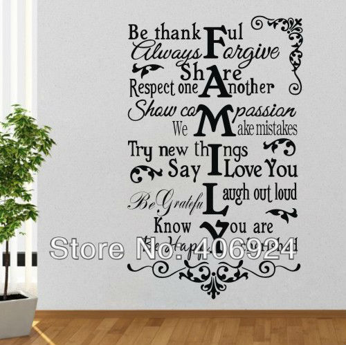 Wholesale Family Wall Quote Decals Stickers Decor Living Room Kids Room Pvc Art Wall Decor