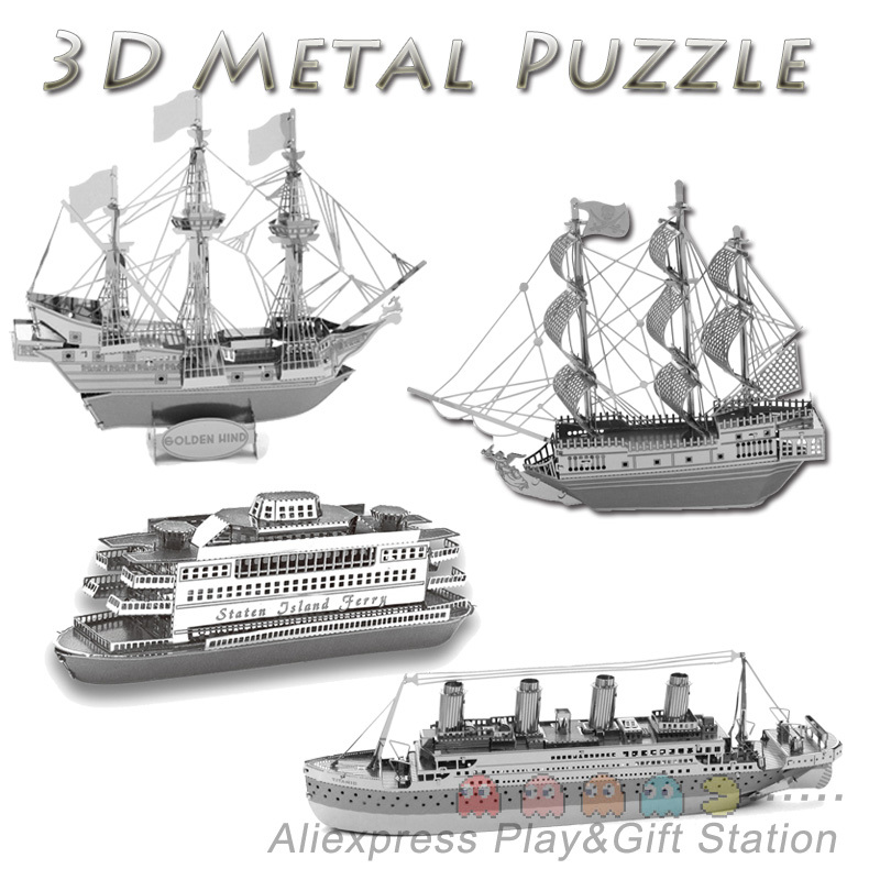 3D Metal Puzzles DIY Model Gift World's Ship Ferry Caribbean Black Pear Titanic Golden hind Jigsaws toys Present Gift(China (Mainland))