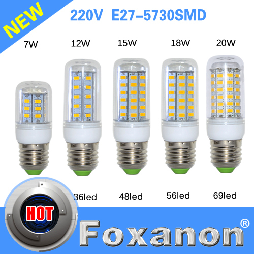 Foxanon Brand E27 Led Lamps 5730 220V 7W 12W 15W 18W 20W LED Lights Corn Led Bulb Christmas Chandelier Candle Lighting 1PCS/Lot(China (Mainland))