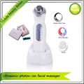 Rechargeable Photon Tender Red Green Blue Light Ultrasonic Microcurrent Facial Skin Beauty Massager Free Shipping