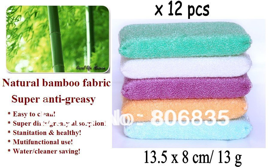 Wholesale high efficient ANTI-GREASY color dish cloth,bamboo fiber washing dish foam,magic multi-function wipping/cleaning rags
