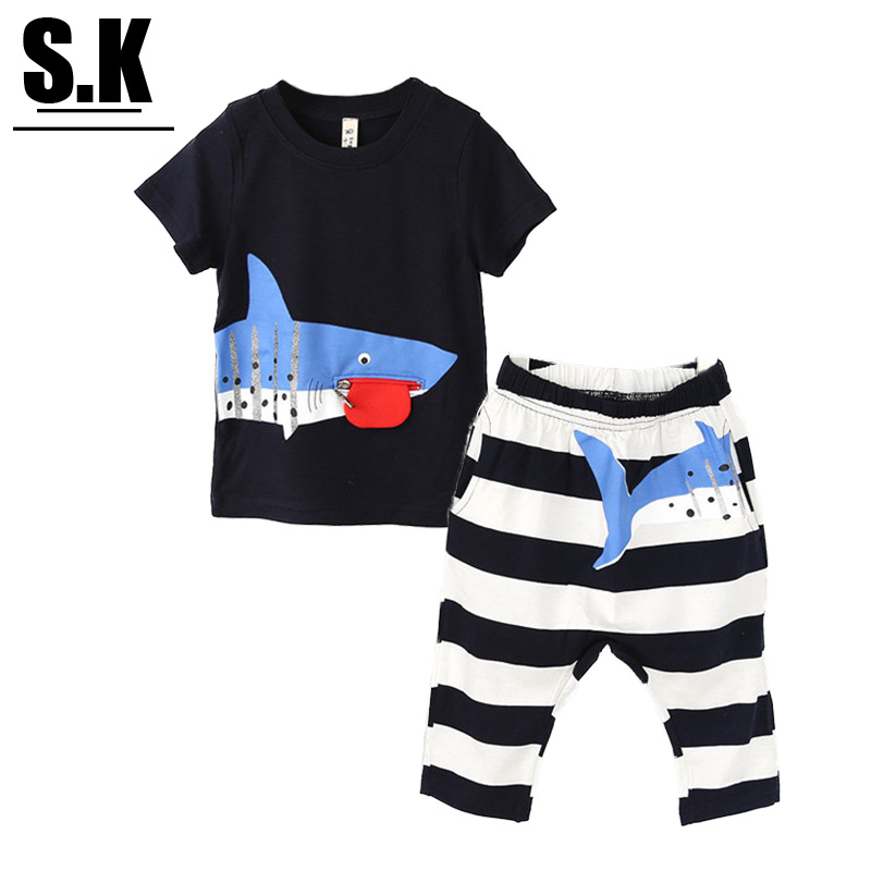 Brand Sunshine Kids Boys Clothing Sets Shark Cartoon T-shirt and Striped Pants Fashion Kids Clothes for Boys(China (Mainland))