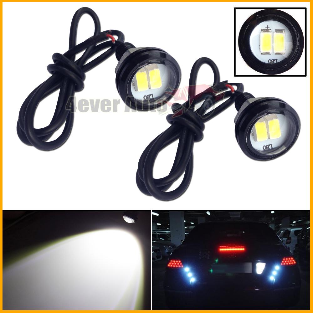 2PCS White 2W 5730-SMD LED Eagle Eye Motorcycle Car Parking Fog Backup Light DRL(China (Mainland))