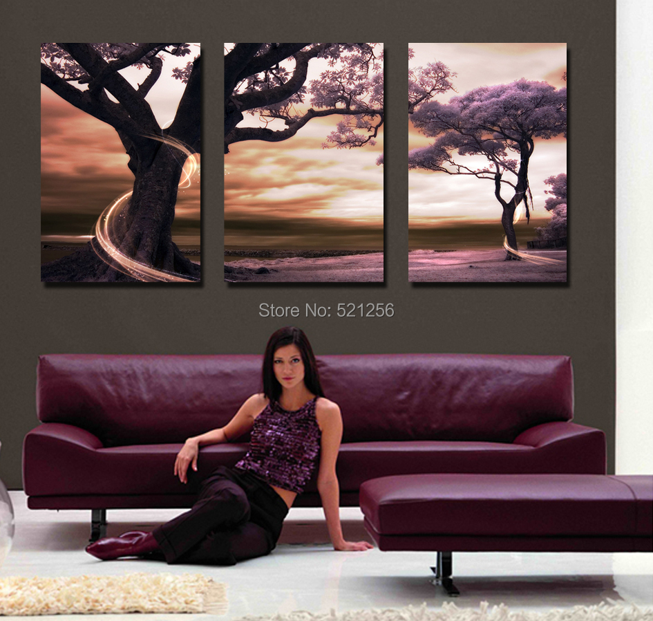 Buy 3 piece modern canvas art wall pictures flower prints room ...